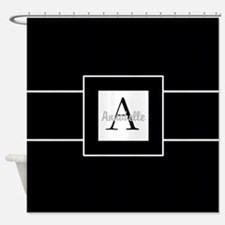 Black White Monogram Personalized Shower Curtain