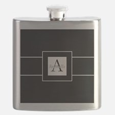 Black White Monogram Personalized Flask