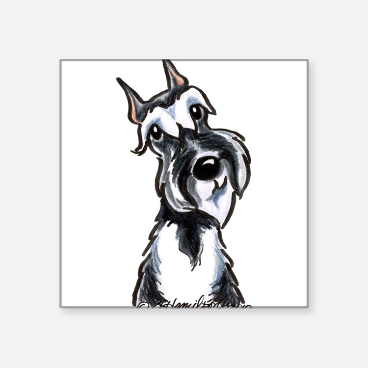 "Cute Black white schnauzer Square Sticker 3"" x 3"""