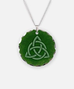 Triangular Celtic Knot Necklace Circle Charm