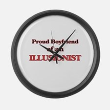 Proud Boyfriend of a Illusionist Large Wall Clock