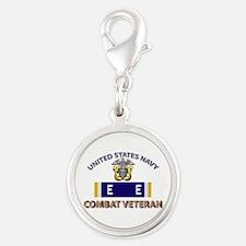Navy E Ribbon - Cbt Vet - E2 Silver Round Charm