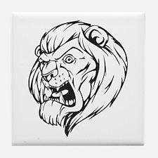 Lion Mascot (Black) Tile Coaster