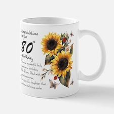 80th Birthday Sunflower Gift Mug Mugs