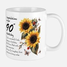 90th Birthday Sunflower Gift Mug Mugs