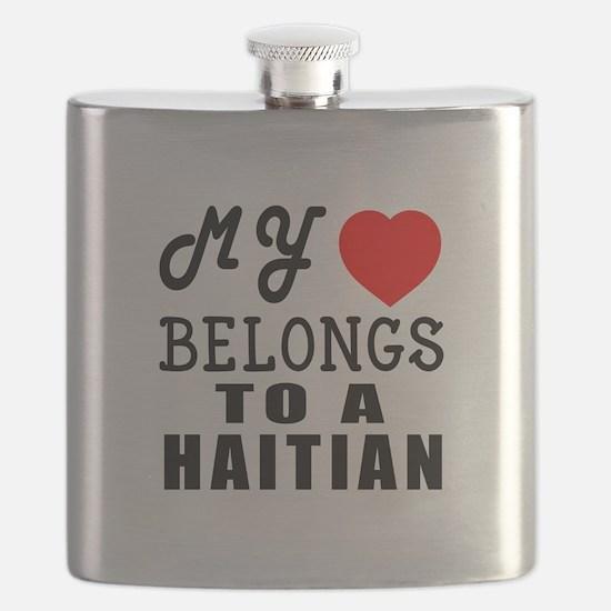I Love Haitian Flask