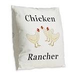Chicken Rancher Burlap Throw Pillow