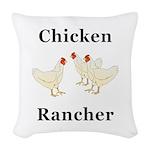 Chicken Rancher Woven Throw Pillow