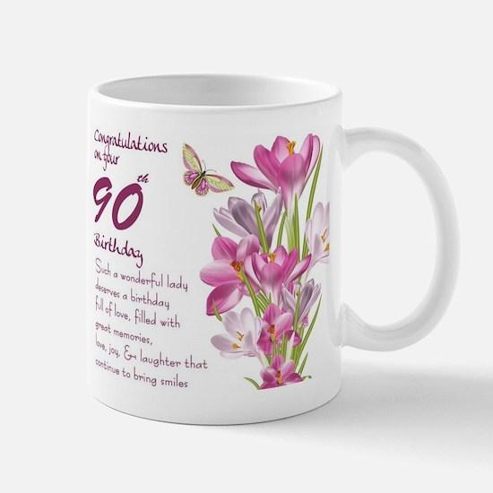 90th Birthday Butterfly And Crocus Gift Mug Mugs