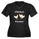 Chicken Farm Women's Plus Size V-Neck Dark T-Shirt