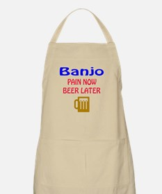 Banjo Pain now Beer later Apron