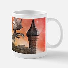 Dragon over a castle Mugs