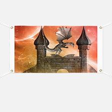 Dragon over a castle Banner