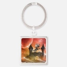 Dragon over a castle Keychains