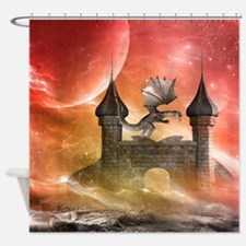 Dragon over a castle Shower Curtain
