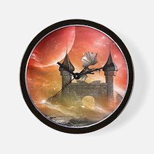 Dragon over a castle Wall Clock