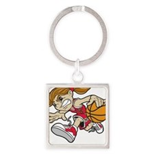 BASKET GIRL RED AUTISM RIBBON Keychains