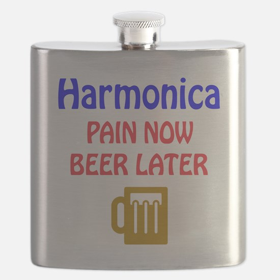 harmonica Pain now Beer later Flask