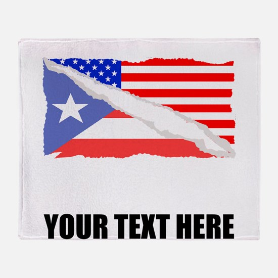 Puerto Rican American Flag Throw Blanket
