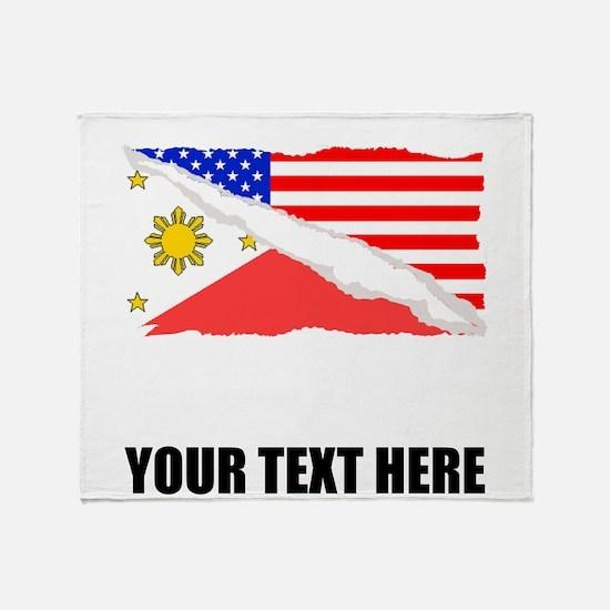 Filipino American Flag Throw Blanket