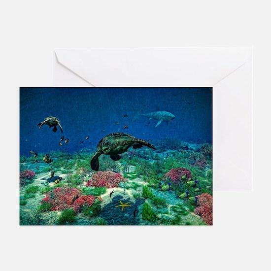 Sea turtles swim through Sea Greeting Cards