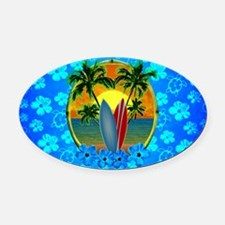 Sunset And Surfboards Oval Car Magnet