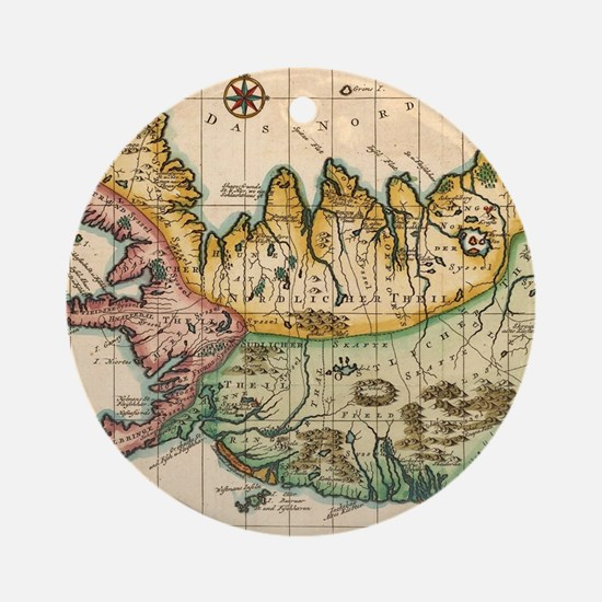 Cartography Round Ornament