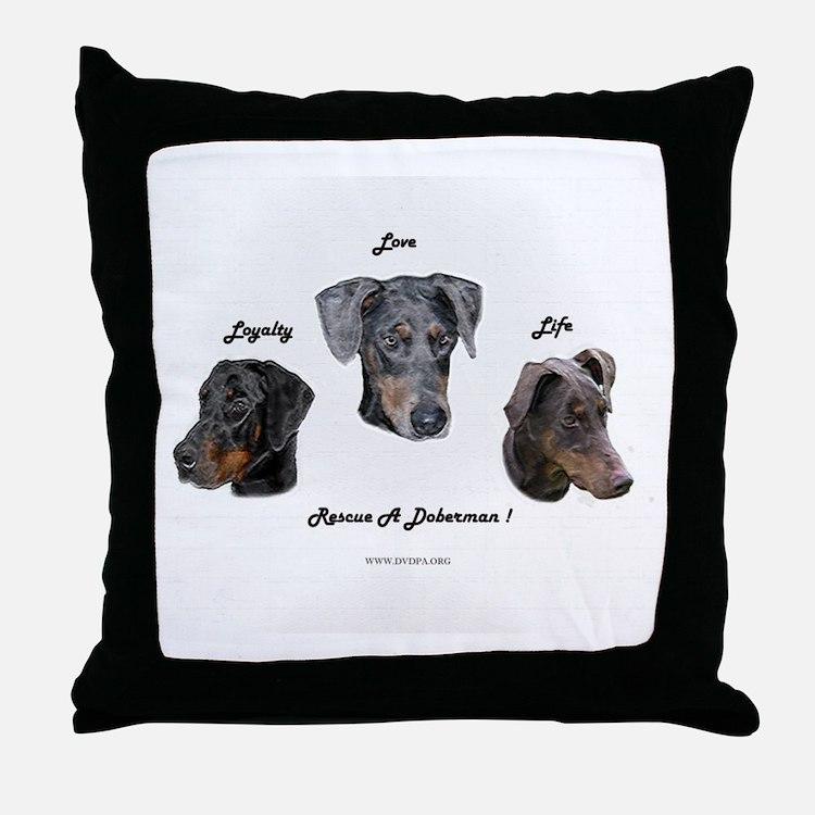 Cute Doberman rescue Throw Pillow