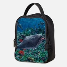 Dolphins play in the reef Neoprene Lunch Bag
