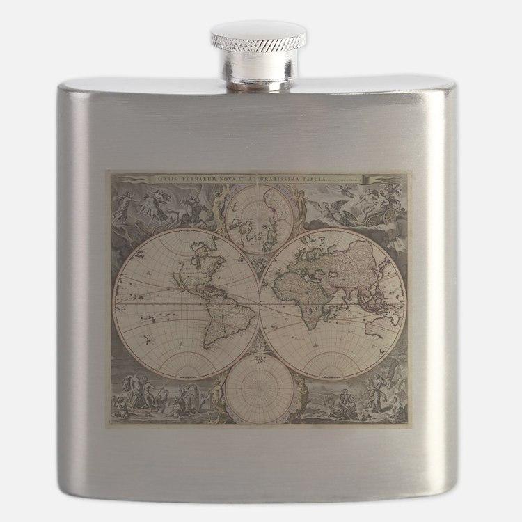 Cute Antique world map Flask