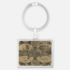 Map of world Landscape Keychain