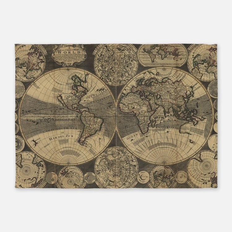 Antique Map Rugs, Antique Map Area Rugs
