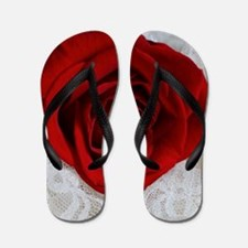 Wonderful Red Rose Flip Flops