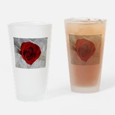Wonderful Red Rose Drinking Glass