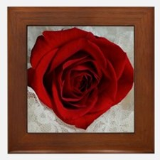 Wonderful Red Rose Framed Tile