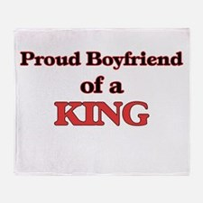 Proud Boyfriend of a King Throw Blanket