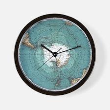 Vintage Antarctica Map Wall Clock