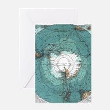 Vintage Antarctica Map Greeting Cards