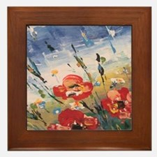 Cute Poppies Framed Tile