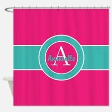 Pink Teal Monogram Personalized Shower Curtain