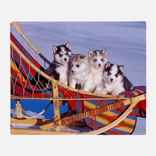 Funny Siberian husky Throw Blanket