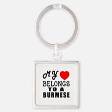 I Love Burmese Square Keychain