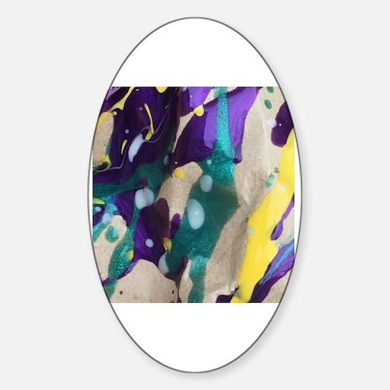 Cool Rainbow splatter Sticker (Oval)