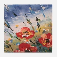 Cute Poppies Tile Coaster