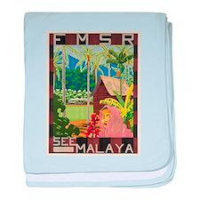 Vintage poster - Malaya baby blanket