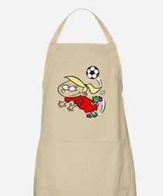 SOCCER GIRL TOON BLONDE RED AUTISM RIBBON Apron