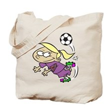 SOCCER GIRL TOON BLONDE PURPLE AUTISM RIBBON Tote