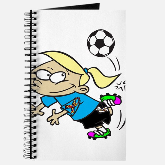 SOCCER GIRL TOON BLONDE CYAN AUTISM RIBBON Journal