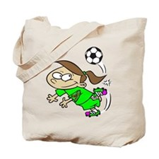 SOCCER GIRL TOON GREEN AUTISM RIBBON Tote Bag