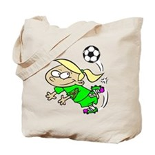 SOCCER GIRL TOON BLONDE GREEN AUTISM RIBBON Tote B